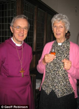 Reverend Caroline Wright with the Rt Revd Anthony Priddis, Bishop of Hereford