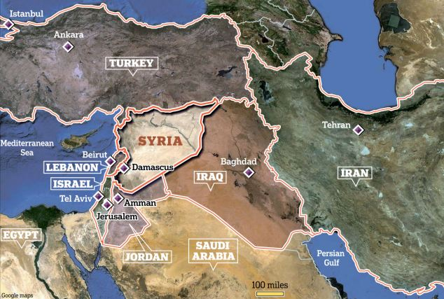 Syria is surrounded by countries in the Middle East that have allegiances to either Assad's regime or the rebels