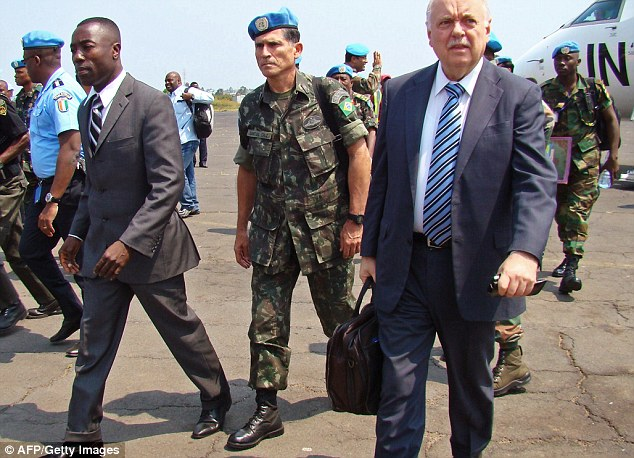 Brazilian General Carlos Alberto Dos Santos Cruz (centre) arrives in the eastern Congolese city of Goma on Tuesday this week. He will lead a UN force against rebel fighters