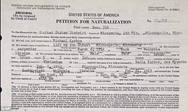 The petition for naturalization for Michael Karkoc, who is now 94 and living in Minnesota