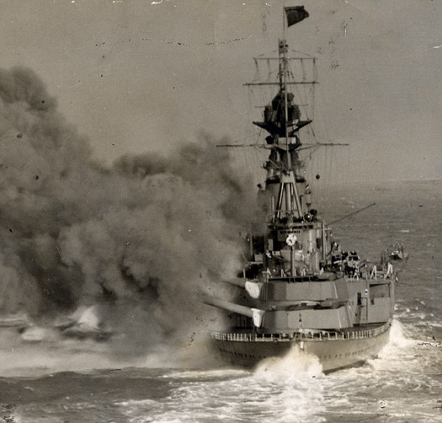 Fierce battle: Cdr Forbes survived the sinking of HMS Hood, a battlecruiser, pictured during a manoeuvres exercise, which was sunk in May 1941 with the loss of 1,400