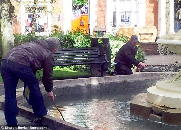 Moment Pair Were Caught Fishing Money Out Of A Fountain Used To Raise Money For Terminally Ill