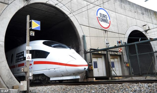 A German ICE high speed train coming out of the Channel Tunnel on its test run