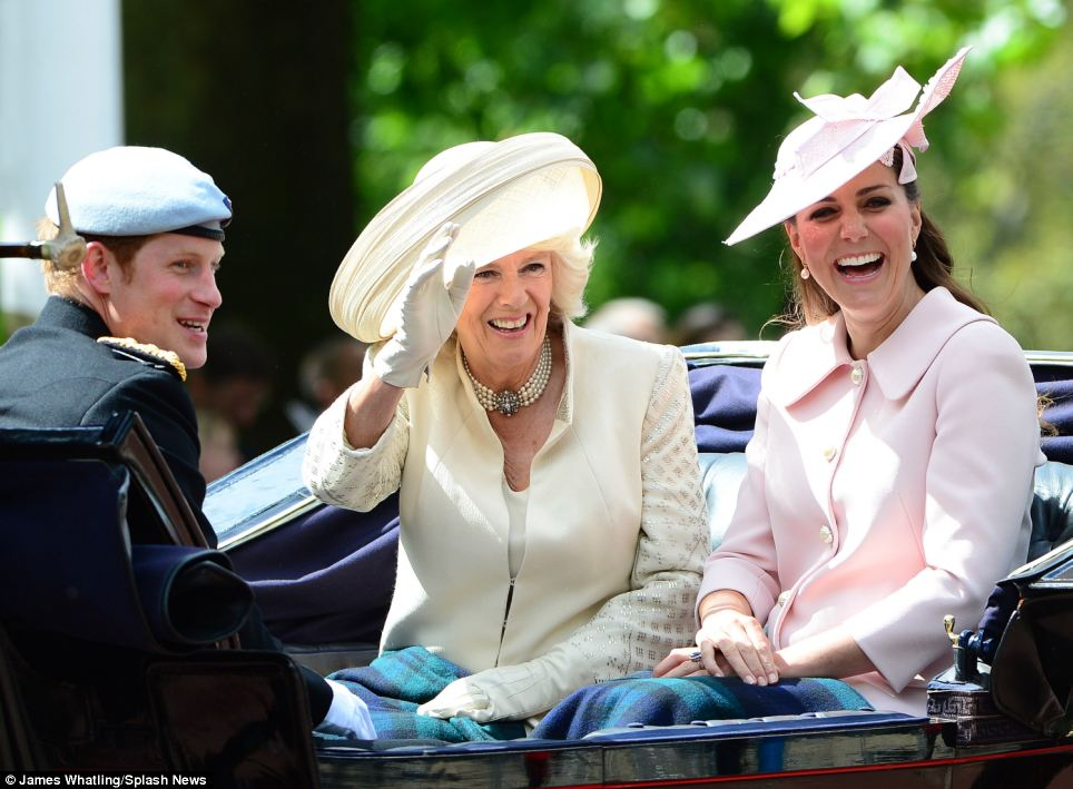 Prince Harry, The Duchess of Cornwall and The Duchess of Cambridge are all smiles as they attend the Trooping the Colour in London today