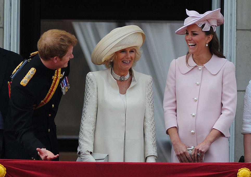 The Joker: Harry makes Camilla and Kate chuckle during the celebrations