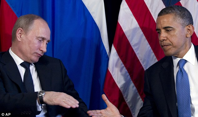 Growing tensions: David Cameron and President Barack Obama will be taking Russia's President Vladimir Putin, pictured together in last year, to task over his support of Syrian President Assad's regime
