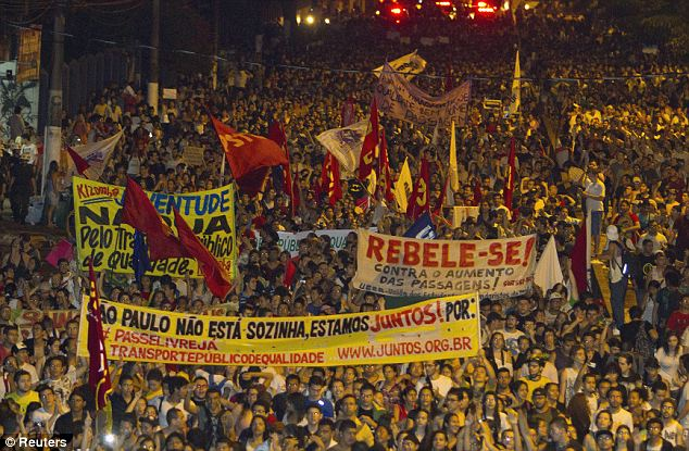 Demonstrators march in Belem, Para State, on June 17, during one of the many protests around Brazil's major cities