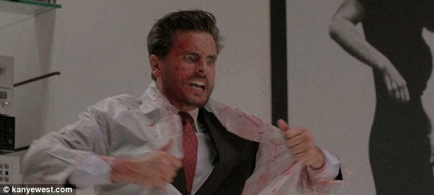 Scott Disick channels American Psychos Patrick Bateman in gory film to promote Kanye Wests new