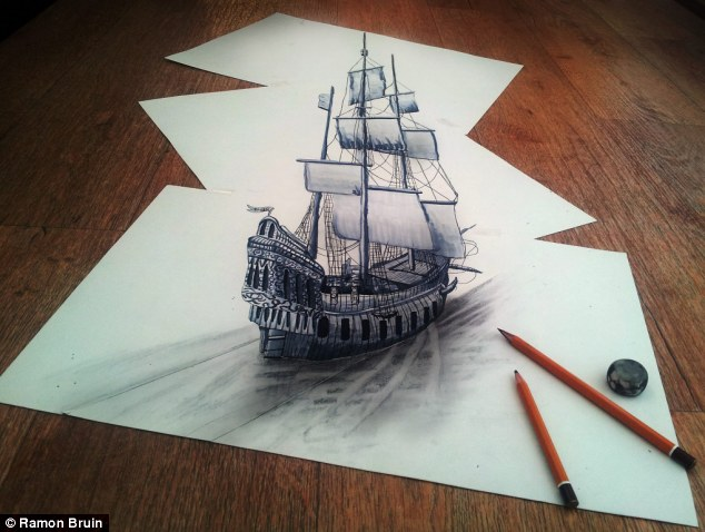 Sail away: An elegant ship appears to be sailing through a sea of white paper sheets in one of the artist's creations