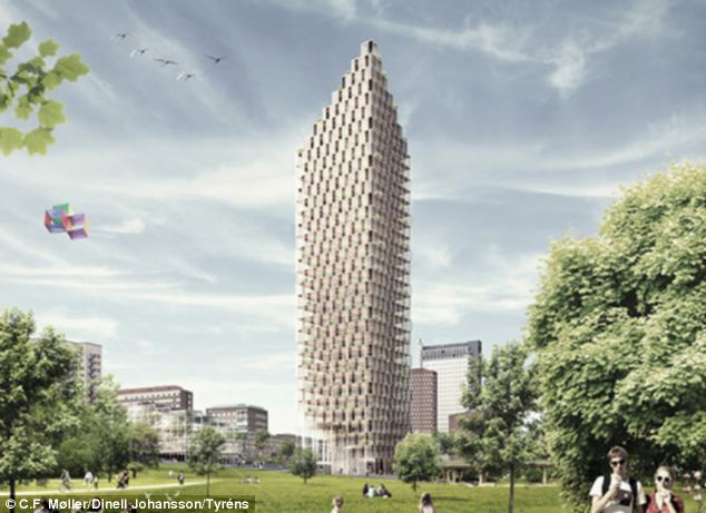 Architectural firms C.F. Møller and Dinell Johansson and consultant Tyréns propose to build the world's tallest wooden skyscraper in Stockholm, Sweden