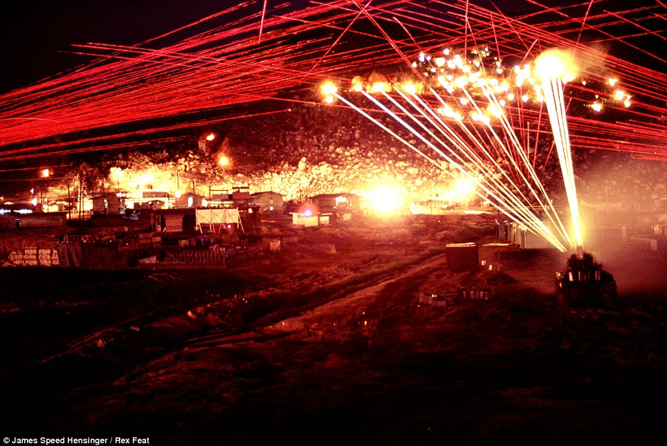 Unleash hell: The hillside becomes a sea of fire when the big guns on the tank begin firing, in addition to the bursts from the three machines