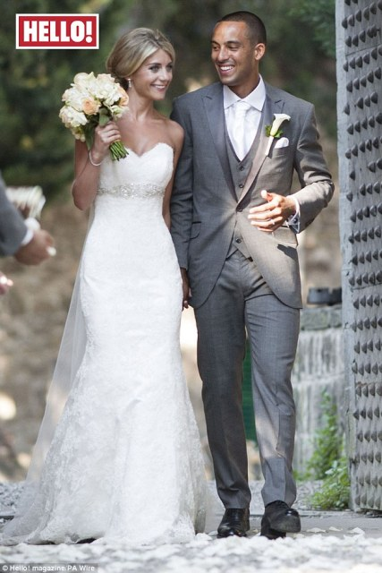 Just married: Arsenal footballer Theo Walcott and Melanie Slade wed last week in Italy