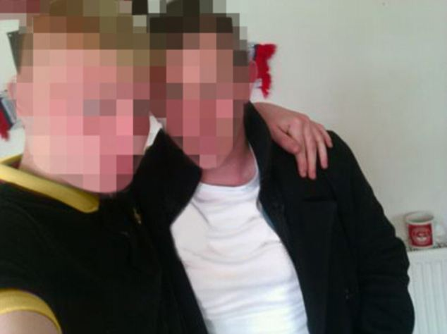 'It was taken at a party': Brothers Philip and James in the photo that started it all, which was Philip's Facebook profile picture. They have agreed to allow the use of this image providing their faces are obscured