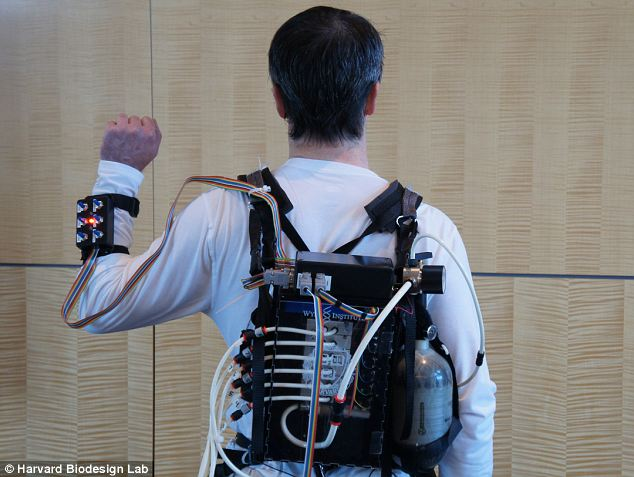 Early stages: Experts hope to one day eventually merge the prototype exosuit with real clothing so it will become a second skin and benefit athletes, soldiers and those who cannot walk because of muscle injuries