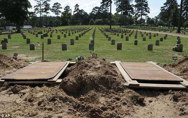 Final destination: Empty and recently filled graves in the Joe Byrd Cemetery in Huntsville, Texas.