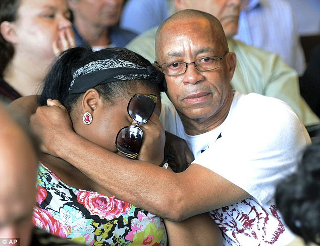 Weeping: Relatives of murder victim Odin Lloyd were in the courtroom when Hernandez was charged