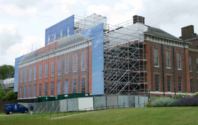 Facade: The fake frontage of Kensington Palace has been erected while work is being carried out. The enormous canvas - measuring about 25,000 sq ft - covers the south side of the building