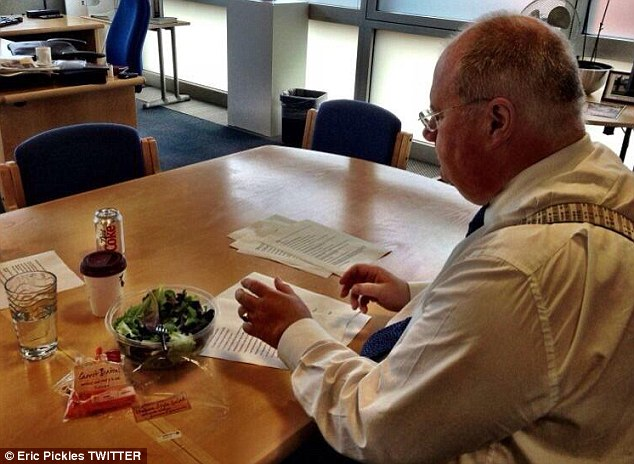 Joke: The new Twitter pictures emerged after Eric Pickles took a swipe at George Osborne by posting this picture of him 'putting final touches to the LGA speech - featuring a salad and carrots instead of a burger