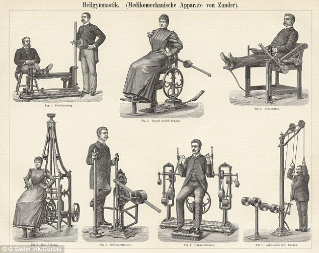 Victorian: Engravings showing physiotherapy machines from 1895, taken from an edition of Meyers Konversations-Lexikon, a 19th century German encyclopedia