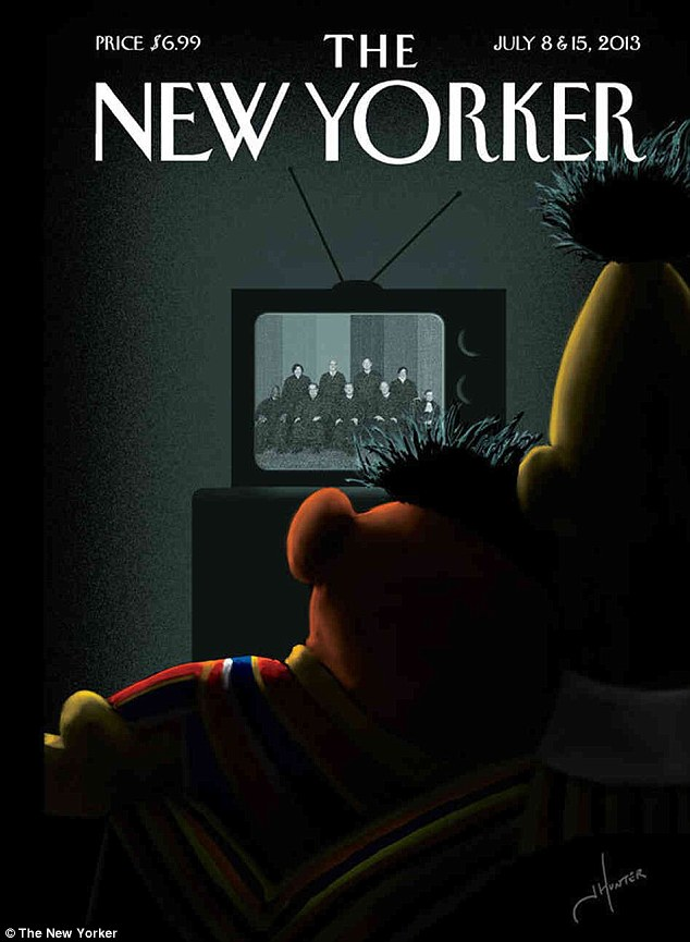 Out: Bert and Ernie embrace as they watch the Supreme Court decision on DOMA