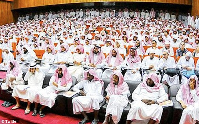 No girls allowed: A 'Women in Society' conference in Saudi Arabia which judging by this picture had an all-male attendance