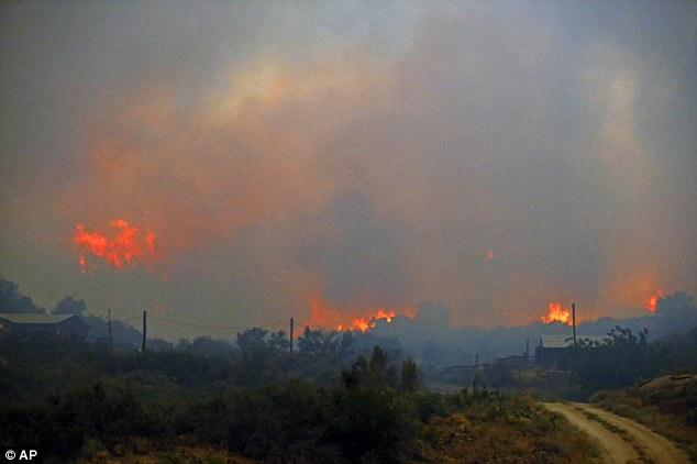 Long-term: Firefighters expect to be in the area battling the blaze for at least a week