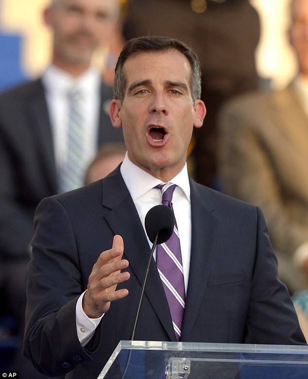 Fresh start: Garcetti celebrated the start of his first term as mayor Sunday with a promise to do the basic things right while getting Los Angeles' economy rolling again