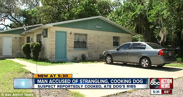 When police arrived at his apartment later that night they found the dog's ribs cooking in a pot on the stove.