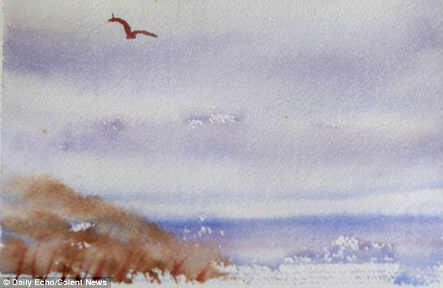 Heidi's mini masterpieces include a seagull flying in the sky over a seascape