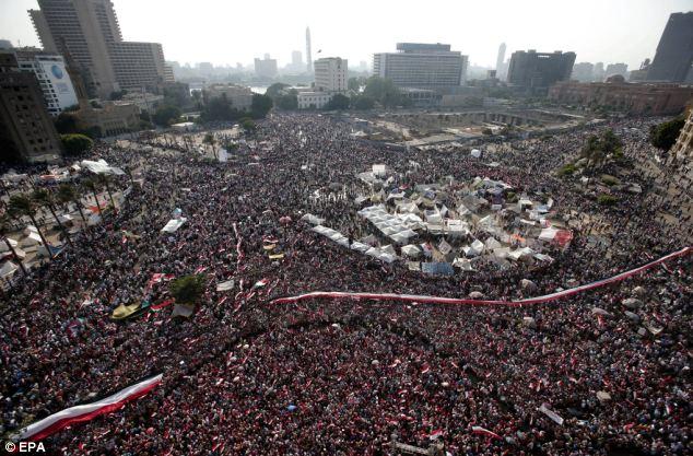 Egyptian protestors demonstrating against President Mohamed Morsi, in Tahrir Square, Cairo today