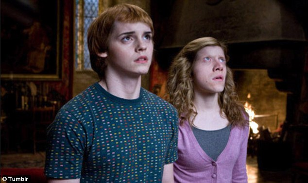 Terrifying: Ron Weasley and Hermione Granger look like they have been put under a spell after this face swap