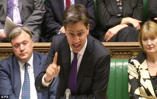 Under pressure: Ed Miliband yesterday had pre-planned lines to use in the Commons top defend Mr Watson