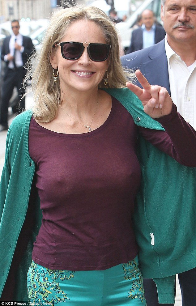 Sharon Stone's Breast and Nipple Shows Through Sheer Knit In