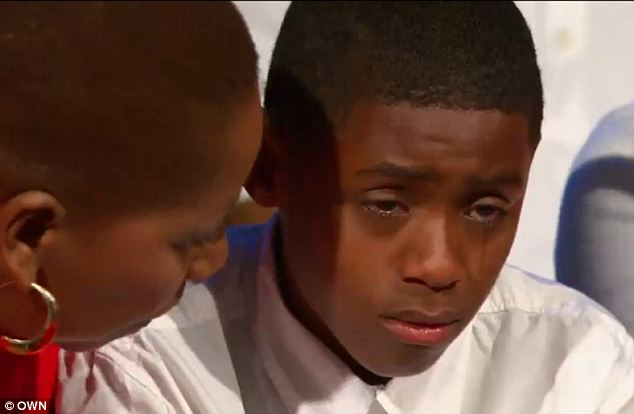 Encouraging: Iyanla Vanzant acted as life coach as she instructed the younger Cason on how to tell his father exactly how he felt as part of an OWN series on Fatherless Sons and Daddyless Daughters
