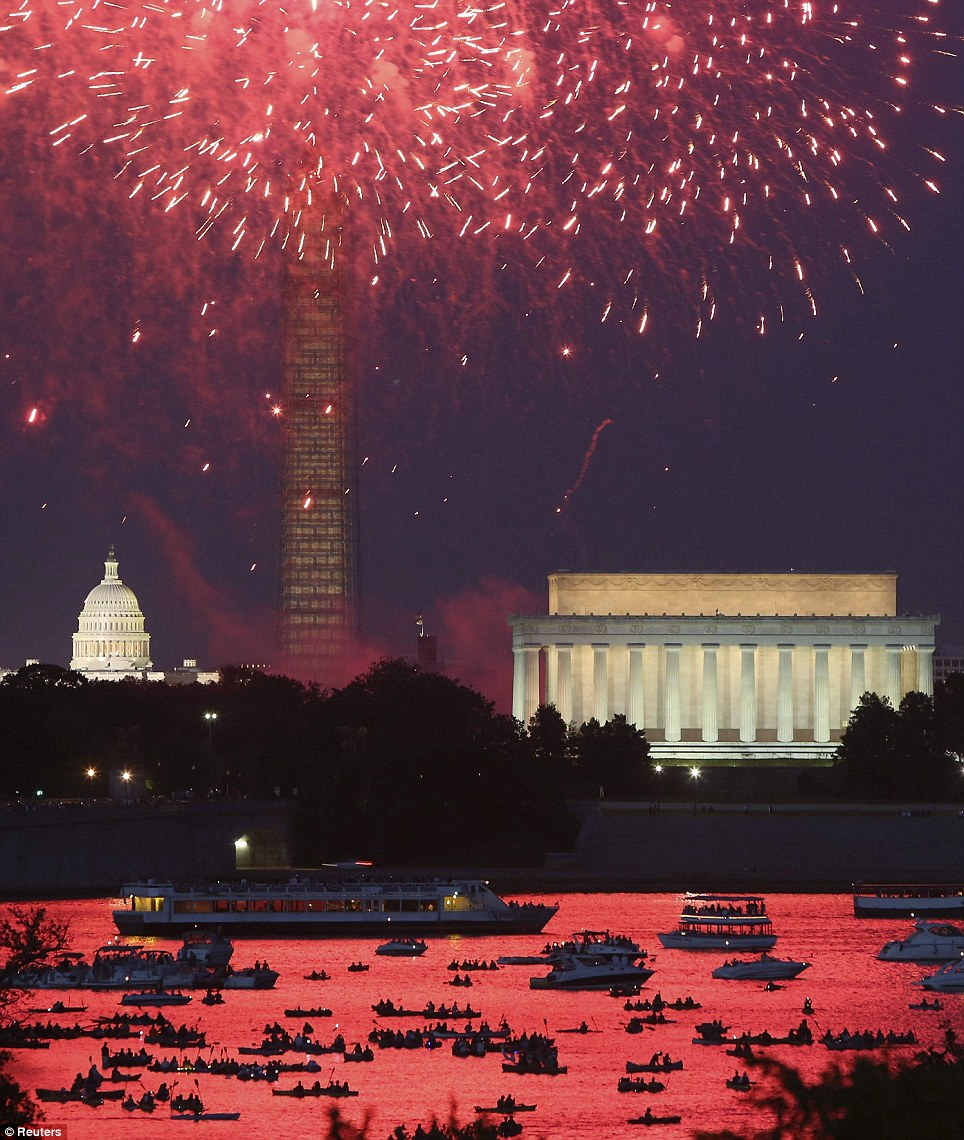 Independence Day fireworks light the sky over Washington D.C.