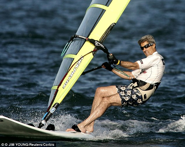 Time out: As his presidential campaign started to go wrong in 2004 John Kerry was spotted wind surfing