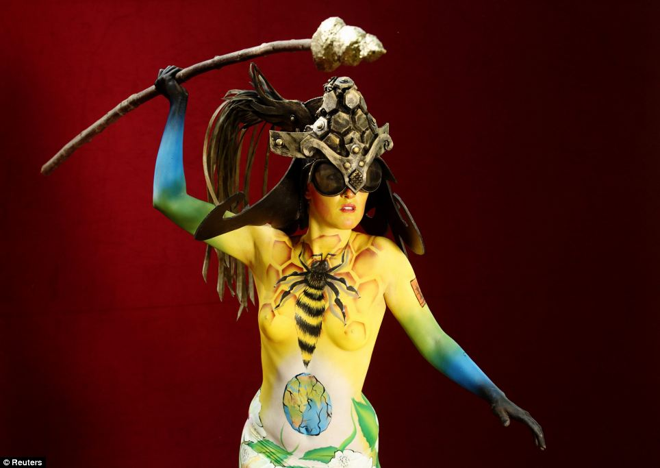 Flight of the bumblebee: This model accessorised a helmet and spear with a bee design emblazoned on her chest
