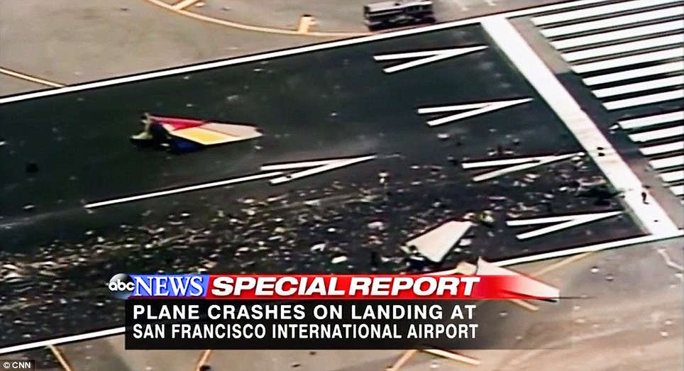 Debris: Bits of the large 777 were thrown from the plane
