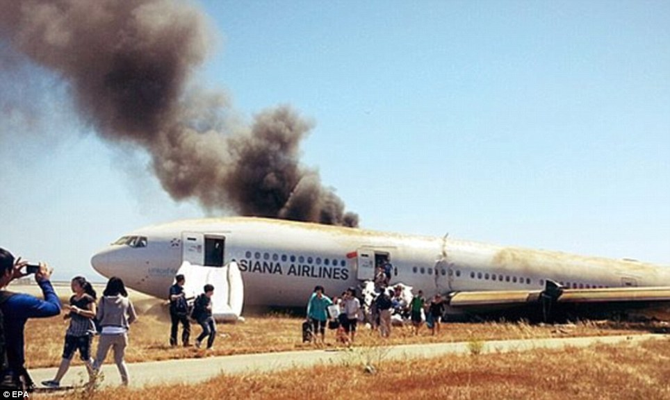 Escape: This photo was taken by Samsung executive David Eun who had been on board the plane