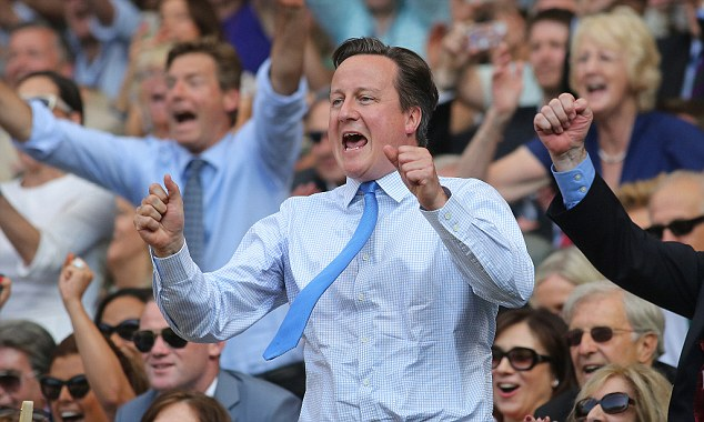 He's done it! David Cameron roars with delight as Andy Murray clinches the championship winning point yesterday