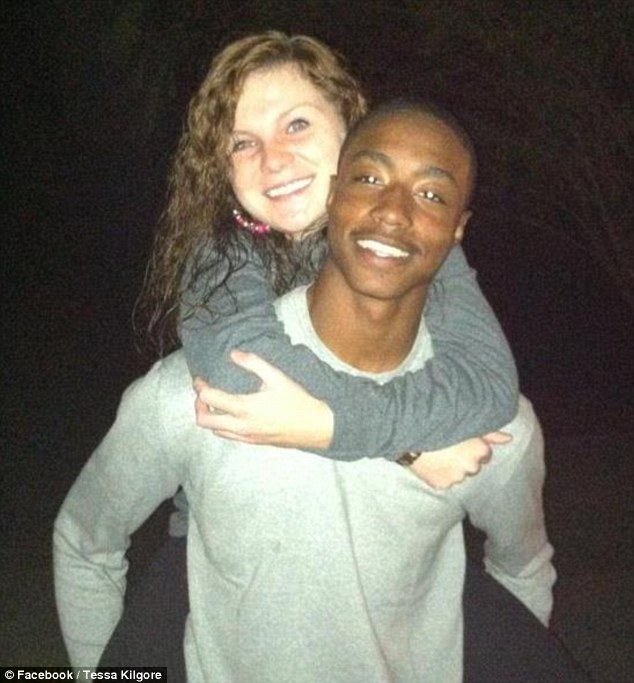 Panic: Tessa Kilgore, pictured with partner LaDarrick Babbs, was forced to give birth in a parking lot after the hospital received a bomb threat
