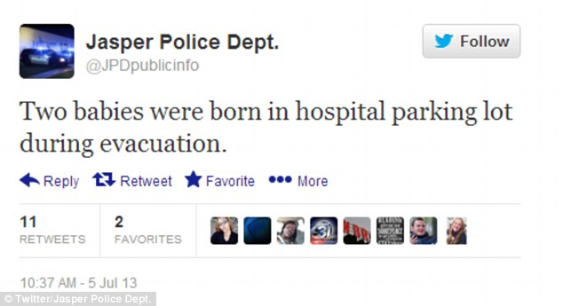 Official: Jasper Police Department tweets that two babies were born outside the evacuated hospital