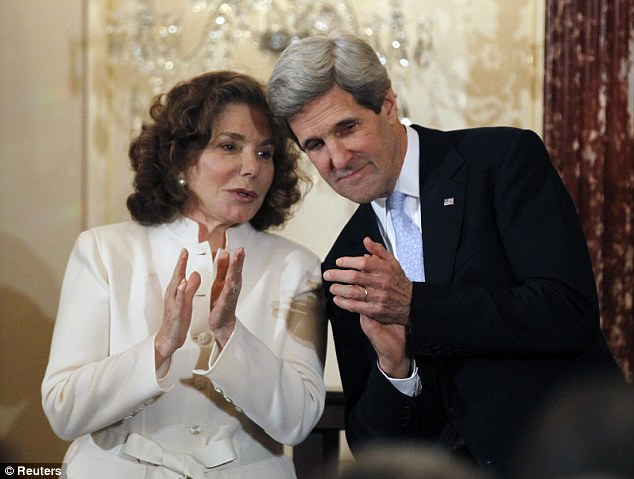 John Kerry is pictured with his wife Teresa Heinz-Kerry after being sworn-in as U.S. Secretary of State by U.S. Vice President Joe Biden during a ceremony at the State Department in Washington on February 6, 2013