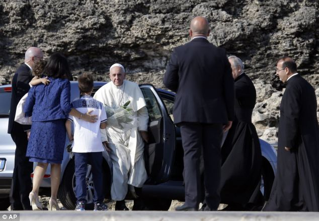 Francis came to pray with survivors of the treacherous crossing from Africa and mourn those who have died trying