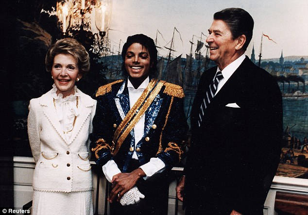 At 11am on May 14, 1984, the President and the First Lady greeted Michael Jackson, who was wearing a jacket with sequins, plus floppy gold epaulettes and a gold sash, large dark glasses and full stage make-up