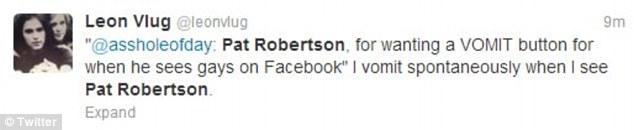 Honest: This Twitter user explains their reaction to Pat Robertson on the social media website