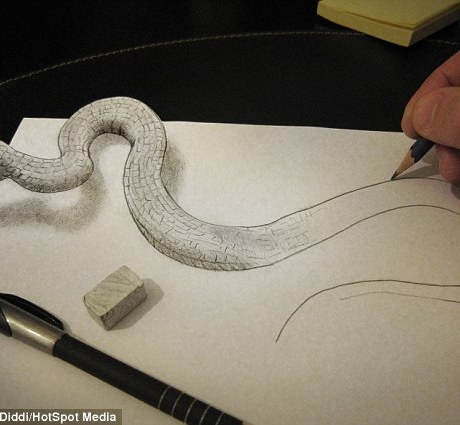 A snake attempts to escape the page, pursued by the artist's pencil