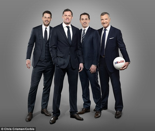 Ready for battle: Sky's punditry line-up of (above, left to right) Jamie Redknapp, Jamie Carragher, Gary Neville and Graeme Souness will be up against BT's trio of Michael Owen, Jake Humphrey and David James (below)