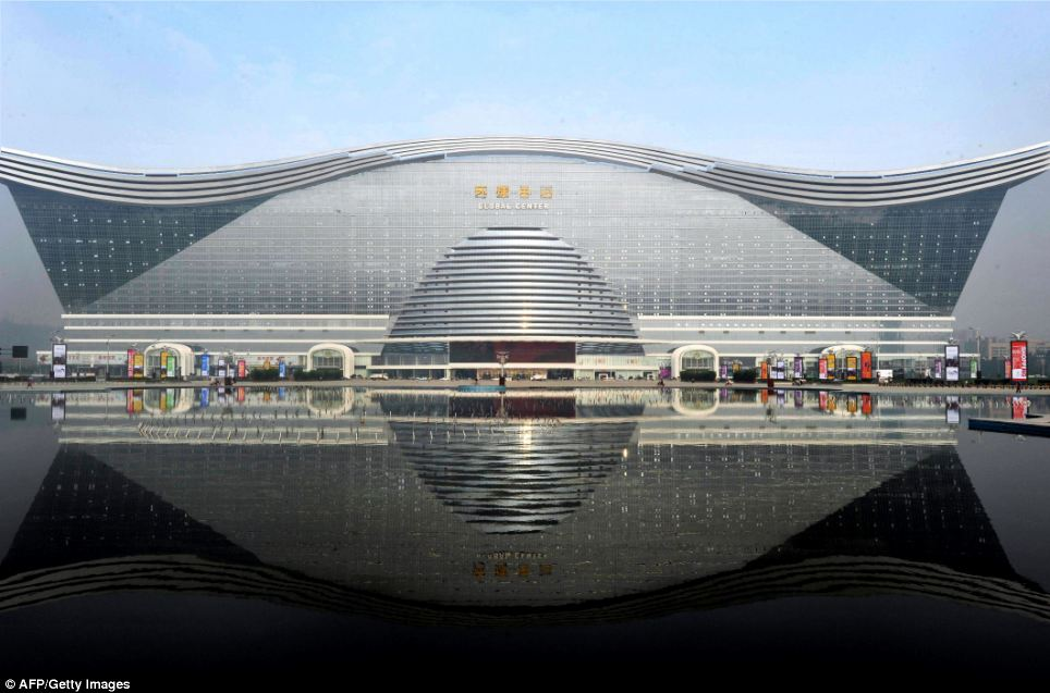 Giant among men: New Century Global Centre in Chengdu, southwest China's Sichuan province is the world's largest freestanding building