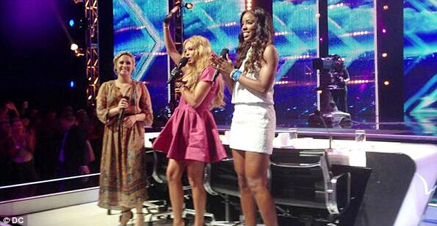 Girl Power! Demi, Paulina and Kelly greet the audience at X Factor Season 3 filming